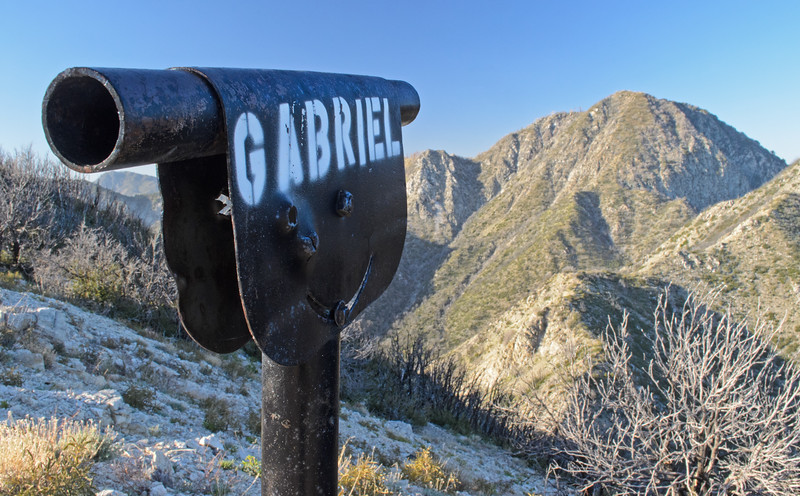 The view of San Gabriel Peak from the summit of Mt. Lowe, which has several sighting rings such as the one above to look at surrounding peaks.