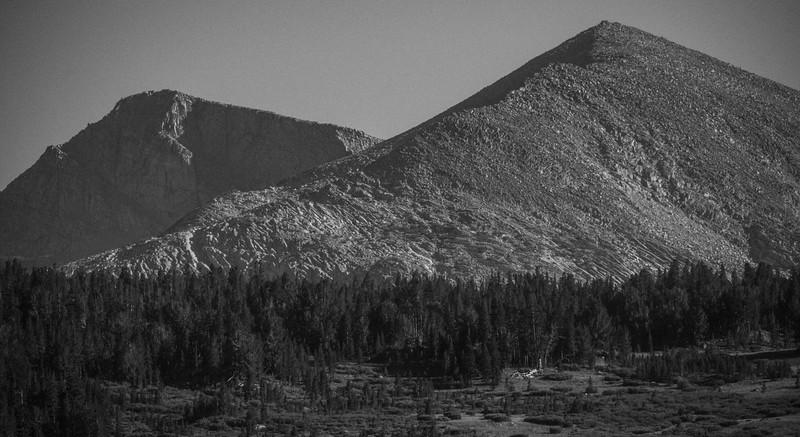 View across Tioga Lake toward Yosemite National Park