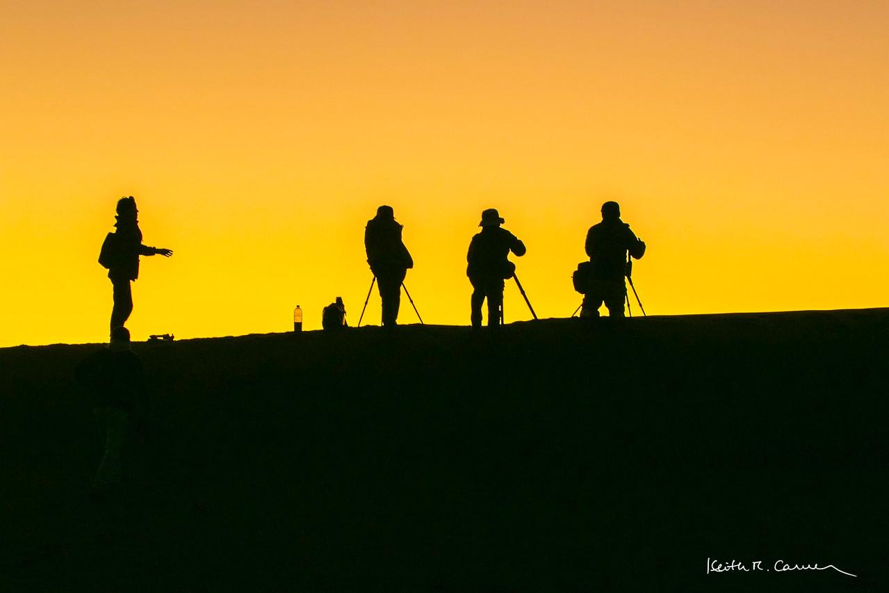 Photographers near Deadvlei set up for sunrise shots