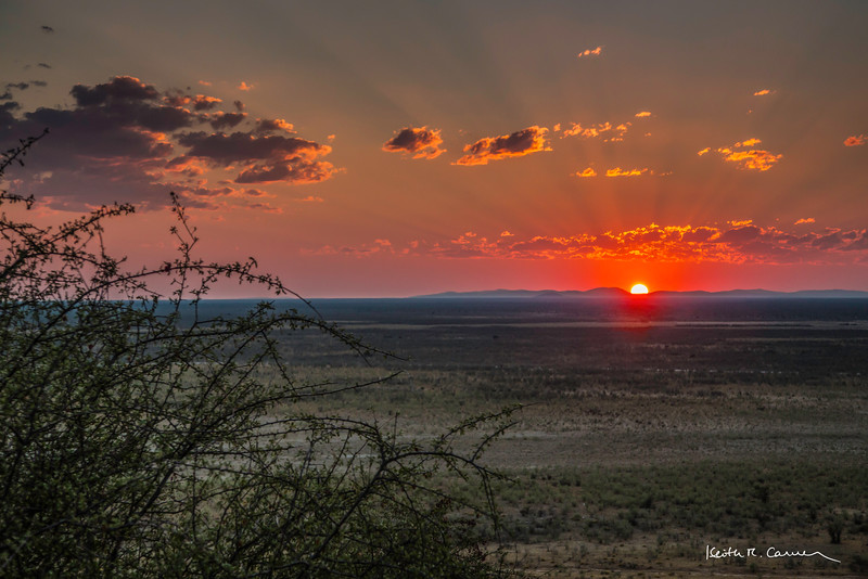 Sunset from Dolomites, western Etosha