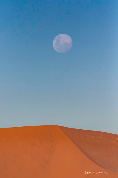 Moonrise over sand dune