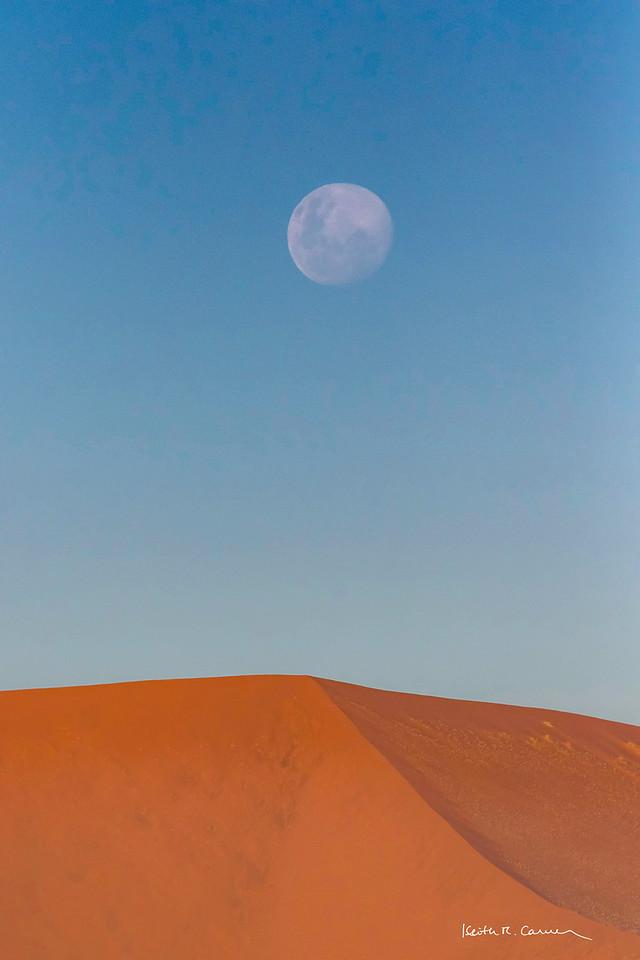 Moonrise over sand dune