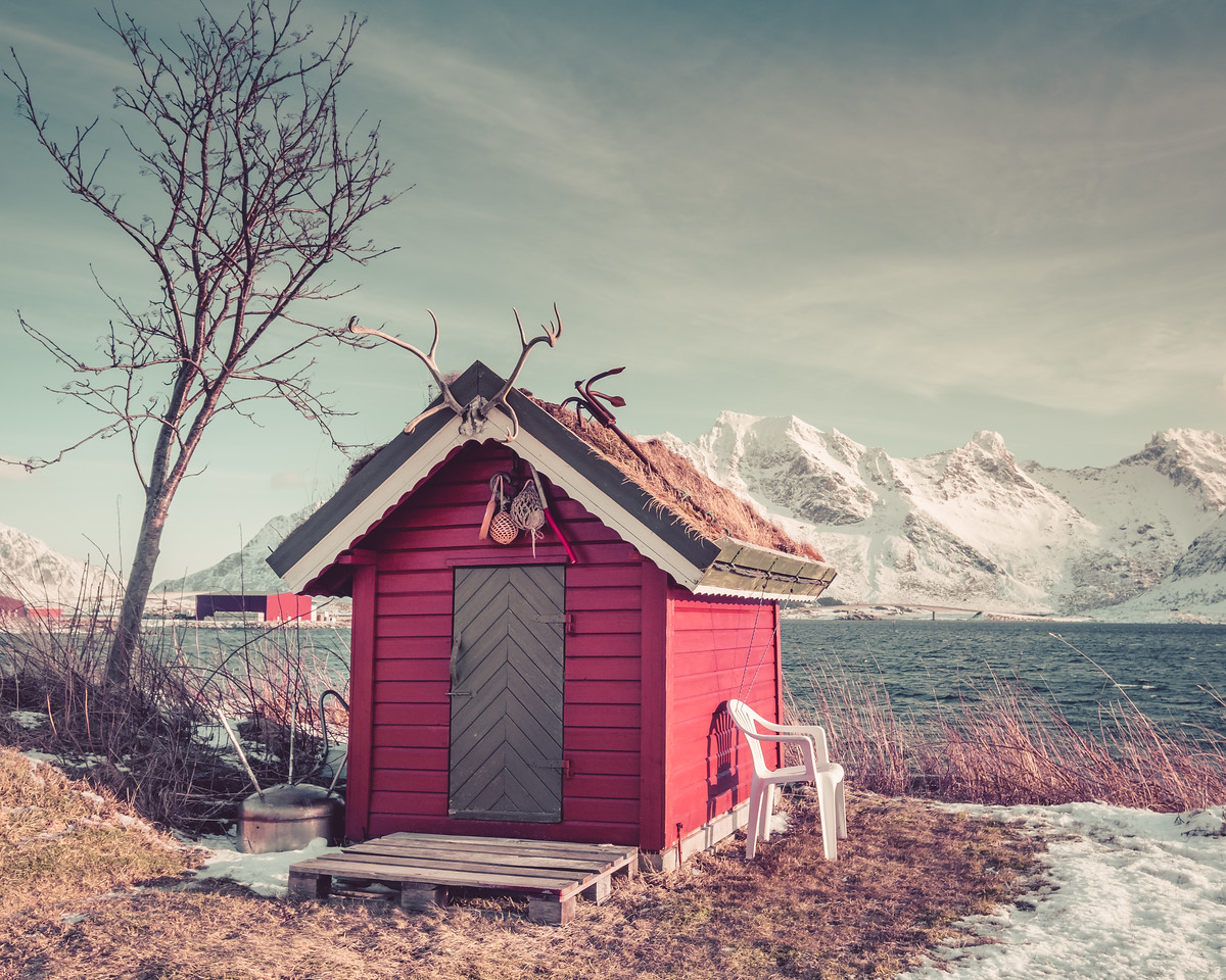 Red lake shed - Lofoten Islands Norway