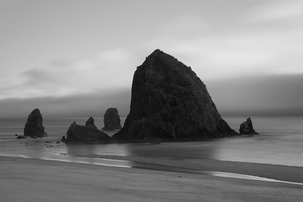 Foggy Evening at Haystack Rock