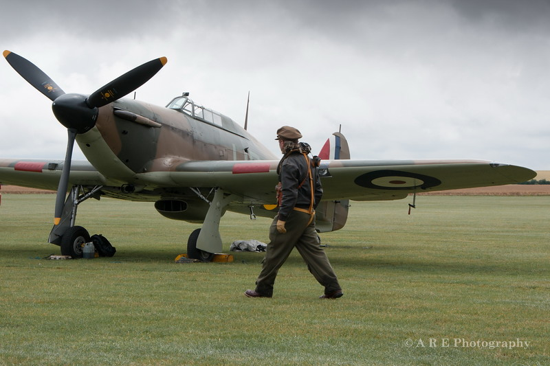 Duxford hurricane and american pilot