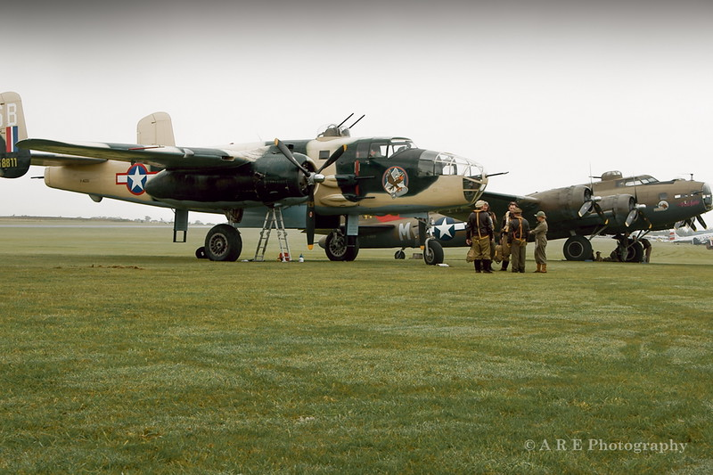 Duxford Mitchell B 52 and Pink lady Flying fortress with ground crew