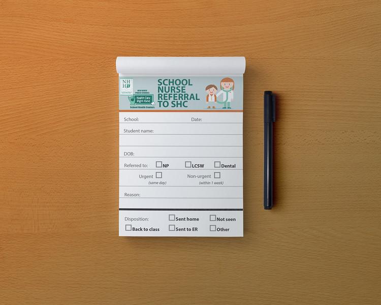 School Nurse Referral pad