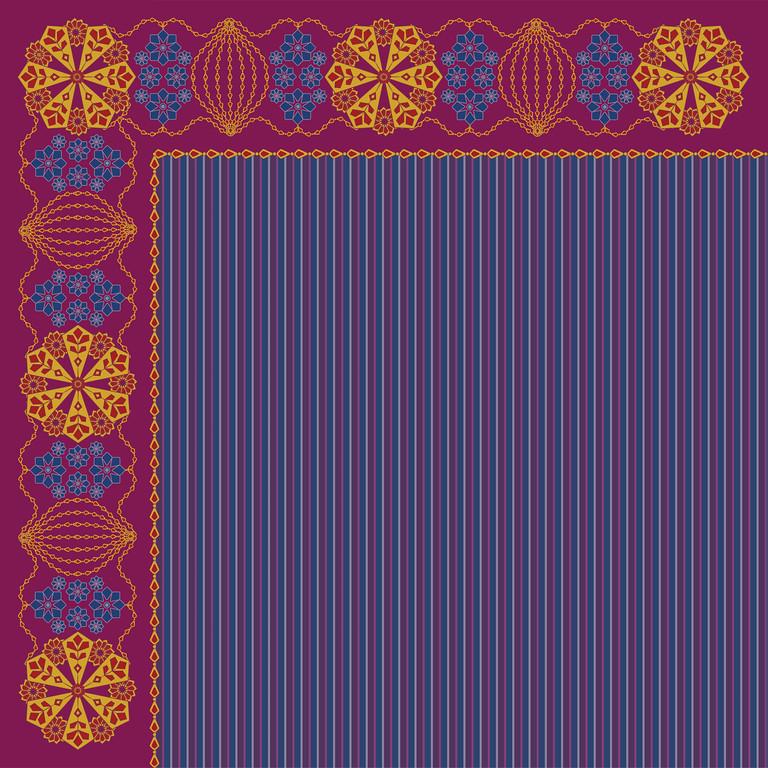 Square scarf design based on ethnic Bashkir patterns