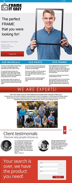 Landing page for framing company