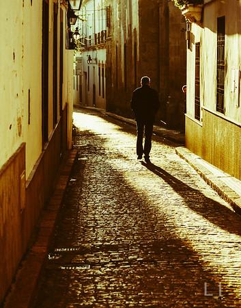 Man in Sunlit Alley