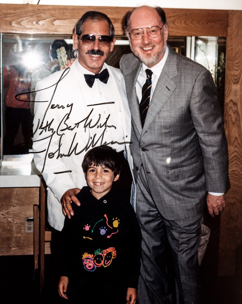 LA PHIL Violist Jerry Epstein and son backstage with Maestro/Composer John Williams at the Hollywood Bowl