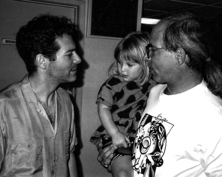 LA PHIL Violist Jerry Epstein and Daughter Jami Cakes with Michael Feinstein backstage by Rosemary Clooney's Door after rehearsal at the Hollywood Bowl