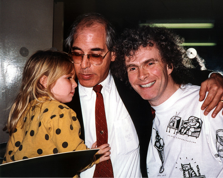 LA PHIL Violist Jerry Epstein and daughter Jami Cakes visit backstage with Maestro Simon Rattle after the concert at the Music Center in Los Angeles