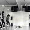 Reflection in the mirror: Kim Connell and Jamie Lee Curtis at Main Street Dance Studio