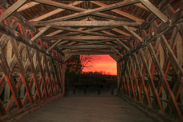 Sunset from Inside Sachs Covered Bridge
