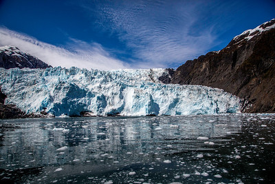 Holgate Glacier and glacial ice chunks in the water