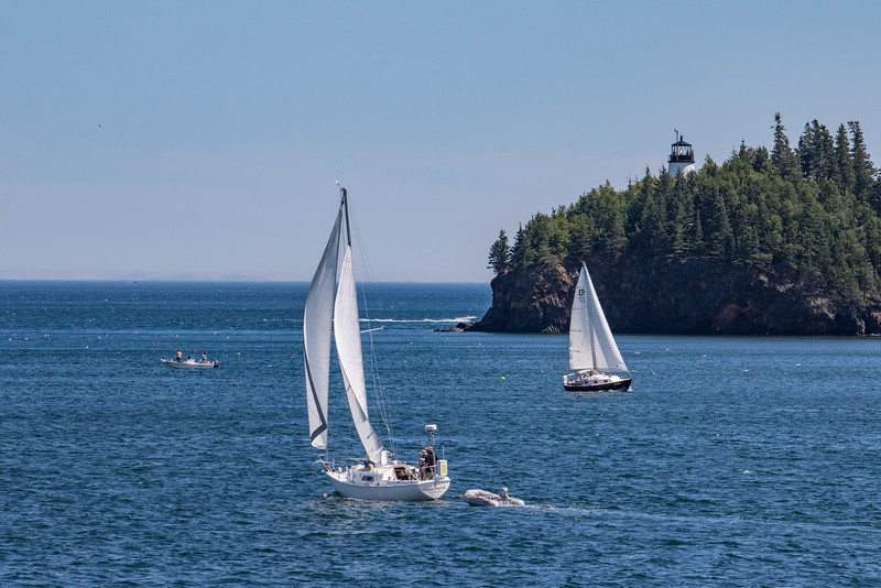 Sailing by Owl's Head Light, near Rockland, Maine