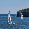 Sailing by Owl's Head Light, near Rockland, Maine