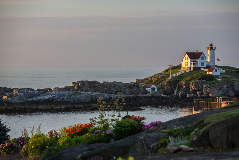 Sun's first rays on Nubble Point Light