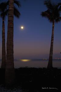 Moonrise at Sanibel causeway