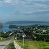 Town of Percé, Quebec.   Percé Rock on left, Bonaventure Island in background