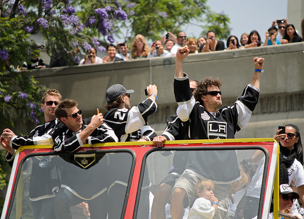 Justin Williams at the Los Angeles Kings Stanley Cup victory parade in 2012.