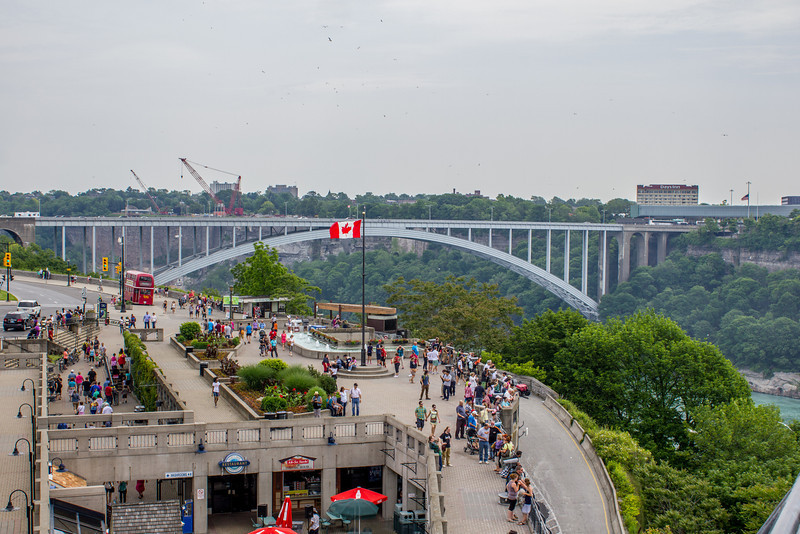 Rainbow Bridge crosses from Niagara Falls, Ontario, Canada to the United States.