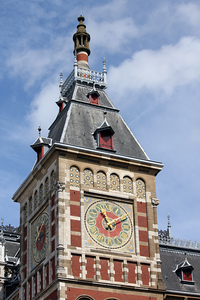 Clock tower at Central Station in Amsterdam