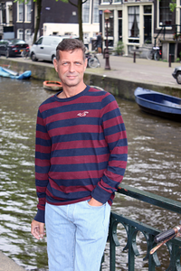 Aaron Wood at a canal in Amsterdam