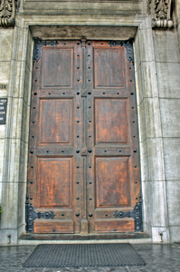 Front door to St Nicholas Church Amsterdam built cira 1842.