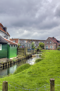 Neighborhood canal in Marken, Netherlands