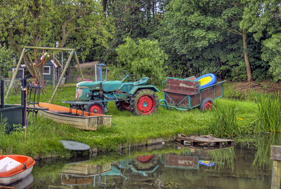 Farm tractor in Marken, Netherlands