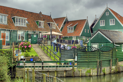 Laundry day at the wood houses of Marken, Netherlands