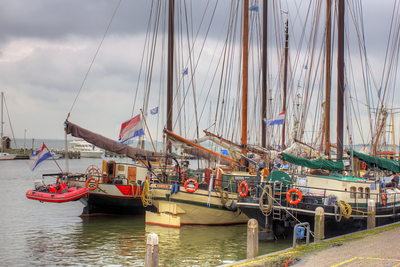 Sail boats in Volendam, Netherlands