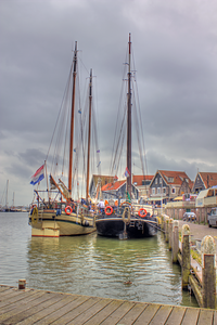 Boats in harbor Volendam, Netherlands