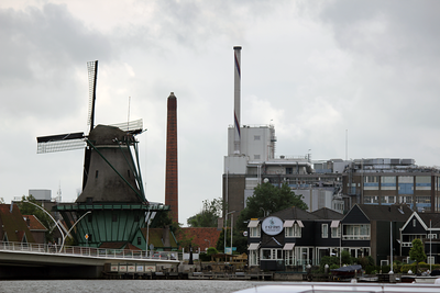 Town of Zaanse Schans Netherlands.  The smoke stacks are used for coco in the making of chocolate.  Smells so good!