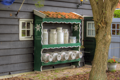 Milk cans for making cheese.  Zaanse Schans Netherlands