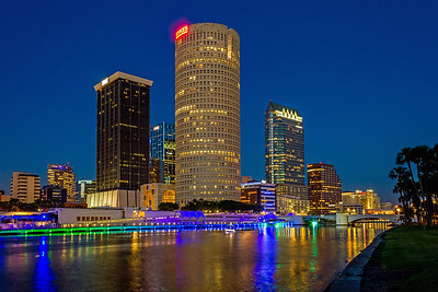 Tampa Skyline across the River at Night