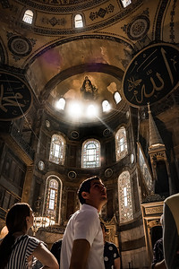 Inside the Hagia Sophia. Once a Greek Orthodox Basilica, it hen became and Imperial Mosque. It is now a stunning museum in Istanbul.