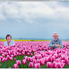 Tulips with happy couple