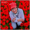Red cap and tulips
