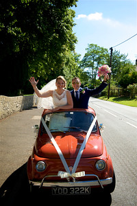 Fiat 500 Wedding Car, Somersetr Wedding Photo