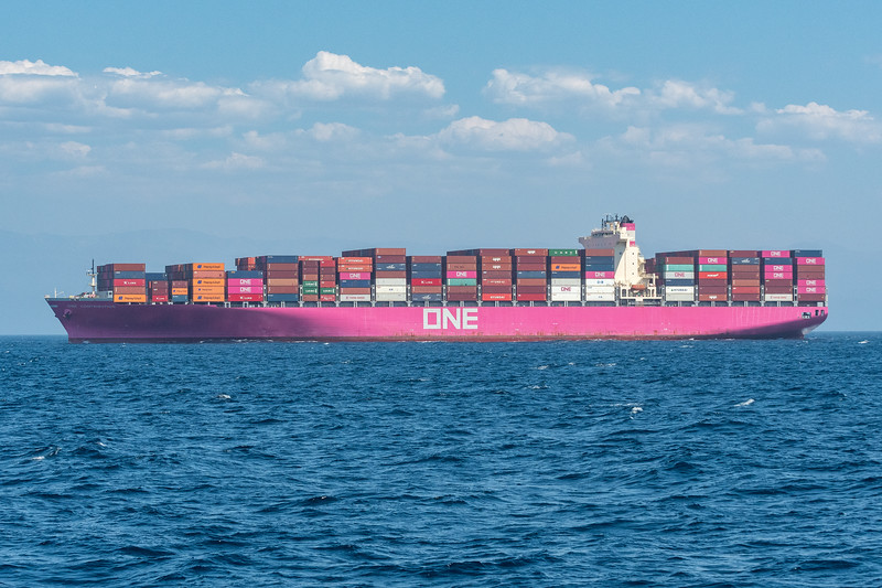 Container ships in Santa Barbara Channel