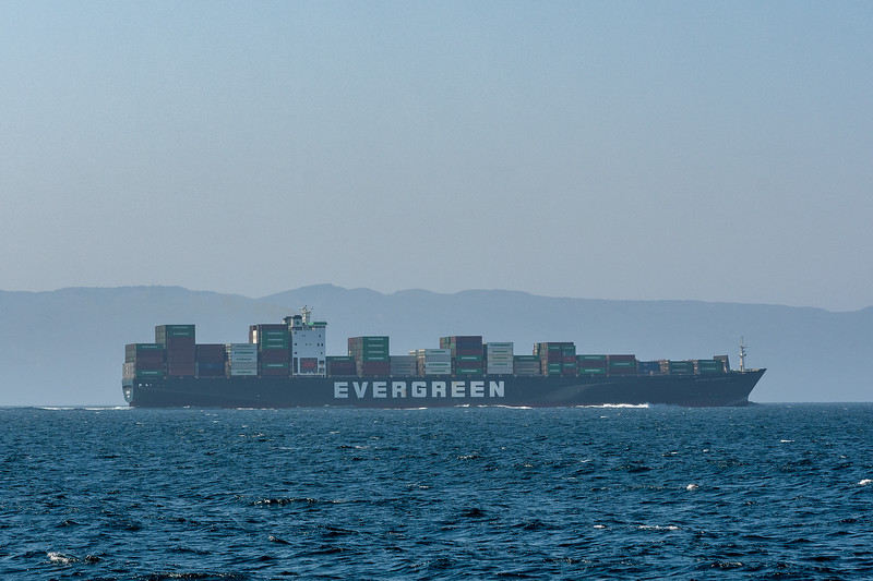 Container ship in Santa Barbara Channel