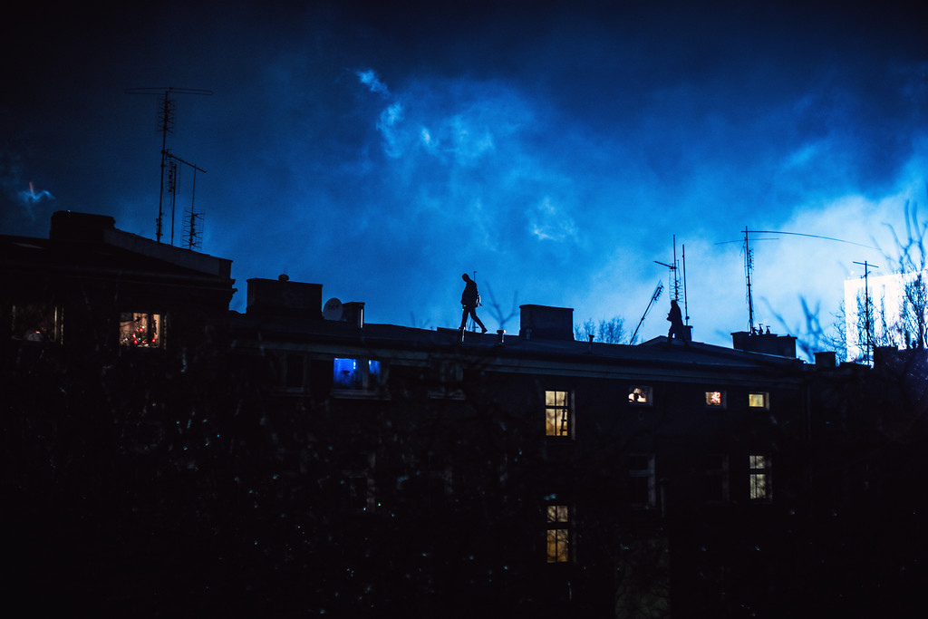 Poznan, Poland  While you were sleeping.......Observing the frenzied kinetic energy of the streets at night.