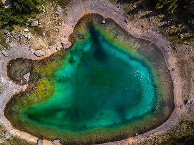 Aerial view of Carezza Lake