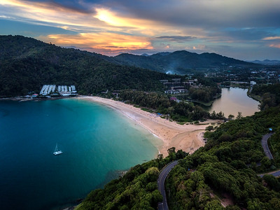 Aerial view of Nai Harn Beach