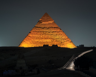 The Great Pyramid of Khafreor or of Chephren at night
