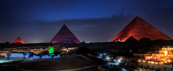 The Great Pyramids of Giza at night, sound and light show
