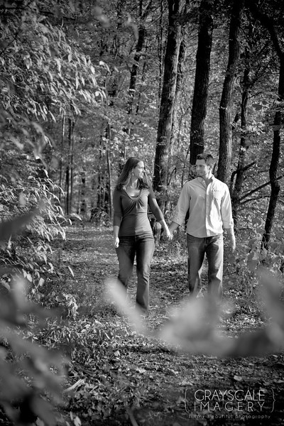 Romantic walk through woods